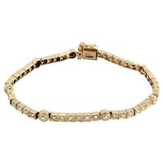 18K Rose Gold Estate Diamond Line Station Bracelet 1.50 TW Diamonds Ladies 6.5""