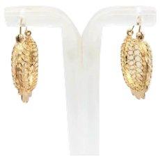 """Vintage Lacy Filigree Hoop Earrings 14K Yellow Gold 1"""" Medium Hoop Ladies"""