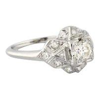 Estate Diamond Cocktail Ring 14K White Gold 0.75 CTW Old Euro Diamonds Ladies