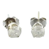 1.00 CTW Round Diamond Stud Earrings 14K White Gold 4-Prong Basket Setting