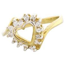 Vintage Open Heart Diamond Ring 14K Yellow Gold 0.21 CTW Diamonds Girls Size 5