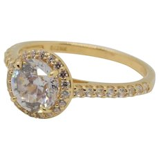Estate Solitaire CZ Halo Ring with CZ Accents 14K Yellow Gold Ladies Size 8.25