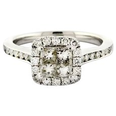 Estate Halo Engagement Ring 14K White Gold 1.00 CTW Princess Round Diamonds 6.75