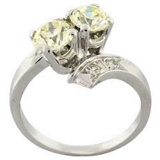Estate Old European Cut Two-Stone Diamond Ring 14K White Gold 1.58 CTW Size 7