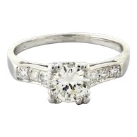 Estate Platinum Diamond Solitaire Engagement Ring 0.95 CTW Round Diamonds Size 7
