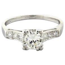 Estate Platinum Diamond Solitaire Engagement Ring 0.95 CTW Round Diamonds Size 7