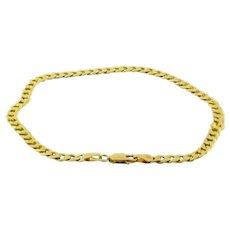 """Estate Curb Link Chain Bracelet Anklet 14K Yellow Gold 5.5 GR 4 mm Unisex 8.5"""""""