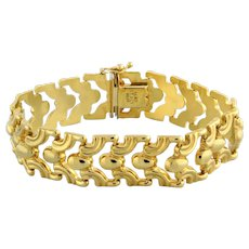 Estate Wide Fancy Link Bracelet 14K Yellow Gold Ladies 7""