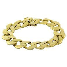 Men's Flat Beveled Curb Link Chain Bracelet 18K Yellow Gold w/ Box Clasp 8""