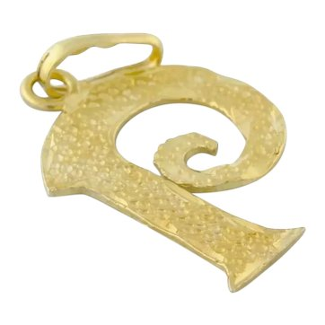 "Estate Letter ""P"" Pendant Charm 14K Yellow Gold Textured Finish 25 mm"