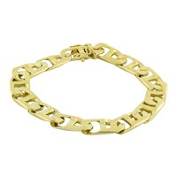 "Men's Mariner Link Chain Bracelet 14K Yellow Gold 42.1 GR 10 MM Box Clasp 8"""