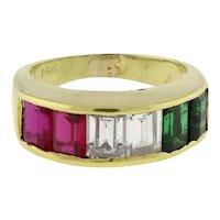 Estate Baguette Cut Emerald CZ Ruby Gemstone Dress Ring 14K Yellow Gold SZ 5.25