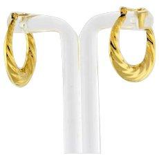 """Estate Swirl Round Hoop Earrings 14K Yellow Gold Twisted 1"""" Ladies Snap Closure"""