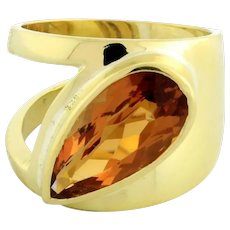 Estate Citrine Ladies Statement Ring 18K Yellow Gold 6.00 CTW Pear Shape Size 7