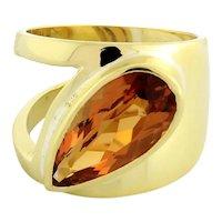 Estate Citrine Ladies Statement Ring 18K Yellow Gold 6.00 CTW Pear Shape Size 6