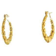 """Vintage Heart Hoop Oval Earrings 14K Yellow Gold Hoop Wire Clasp Ladies Girls 1"""""""