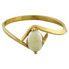 Vintage Opal Ring 14K Yellow Gold 0.25 CTW Oval Opal 6 x 4 mm Ladies Size 7