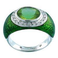Estate Peridot Diamond Green Enamel Dress Ring 18K White Gold 4.00 TW Ladies 6.5