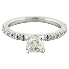 Cushion Cut Solitaire Accent Diamond Engagement Ring GSI Cert.1.08 CTW 14K WGold