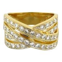 Estate Diamond Crossover Ring 14K Yellow Gold 1.50 CTW Round Diamonds Ladies 8.5