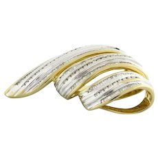 Estate Baguette Round Diamond Multi-Row Swirl Slider 14K Two-Tone Gold 3.80 CTW