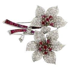 Antique Estate Ruby Diamond Platinum 14K White Gold Flower Brooch Pin 11.50 CTW