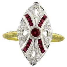 Vintage Ruby Diamond Filigree Ring 14K Two-Tone Gold 1.08 CTW Size 6.5