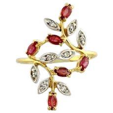 Vintage Ruby Diamond Ladies Floral Dress Ring 10K Yellow Gold 0.93 CTW Size 6.5