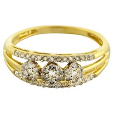 Estate Diamond Floral Cluster Band Ring 10K Yellow Gold 0.75 CTW Diamonds 7.25