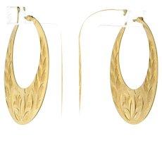 Vintage Hoop Engraved Circle Earrings 14K Yellow Gold 33 mm Ladies Snap Closure
