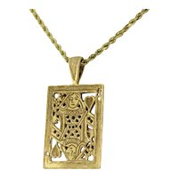 """Estate Queen of Hearts Engraved Pendant 14K Yellow Gold 7.7GR Large 1.75"""" Unisex"""