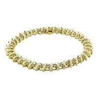 "Estate S-Link Diamond Tennis Bracelet 10K Yellow Gold 2.00 CTW Diamonds Size 7"""