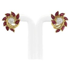 Estate Vintage Ruby Earring Jackets 2.00 CTW Marquise Cut Rubies 14K Yellow Gold