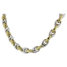 """Estate Two-Tone Gold Specialty U-Link Chain Necklace Unisex 18"""""""