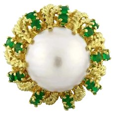 Estate Vintage Pearl Emerald Cocktail Ring 18K Yellow Gold Ladies Size 5.75