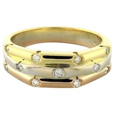 Estate 18K 3-Tone Yellow Rose White Gold Diamond Band Ring 0.33 CTW Dia Size 7.5