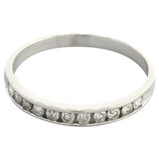 Estate Diamond Half Eternity Band Ring 10K White Gold 0.33 CTW Channel Set SZ 8