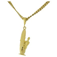 Estate Surfer Pendant Charm 14K Yellow Gold Unisex 1.5""