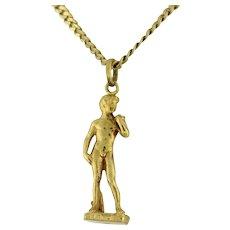 """Estate Statue of David Pendant Charm 18K Yellow Gold Michelangelo Replica 1.5"""""""