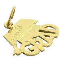 Estate GRAD Charm Pendant 14K Yellow Gold 17 mm