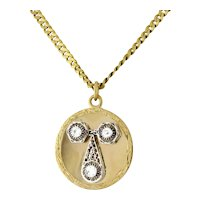Estate Diamond Circle Filigree Pendant 14K 2-Tone Gold 0.30 TW Old Euro Diamonds