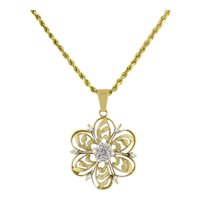 Estate Flower Diamond Pendant 14K 2-Tone Gold 0.25 CTW Diamonds Ladies 1.5""