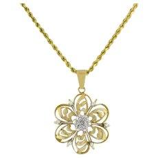 "Estate Flower Diamond Pendant 14K 2-Tone Gold 0.25 CTW Diamonds Ladies 1.5"""