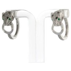 Effy Panther Signature 14K White Gold Diamond and Emerald Hoop Earrings 0.89 TW