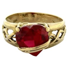 Vintage Heart Faceted Ruby Ladies Ring 14K Yellow Gold 9 mm Heart Gem Size 4.75