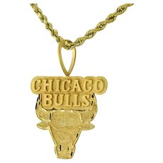 Chicago Bulls Basketball Pendant 14K Yellow Gold Diamond Cut Estate Unisex 35