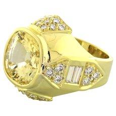 Estate Yellow Sapphire Statement Ring Diamond Accents 18K Y/Gold Cushion Cut Gem