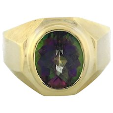 Men's Mystic Topaz Ring 14K Yellow Gold 12 x 10 mm Faceted Oval Gemstone 10.5