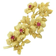 Tiffany & Co. Vintage 18K Yellow Gold Ruby Floral Brooch Pin 0.75 CTW Ladies