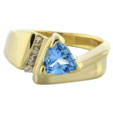 Vintage Trillion Blue Topaz Diamond Accent Ring 14K Yellow Gold 1.62 CTW Ladies